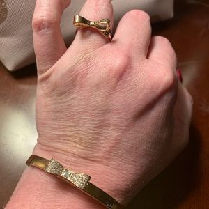 Kate Spade Bow Bracelet and Ring in Rose Gold